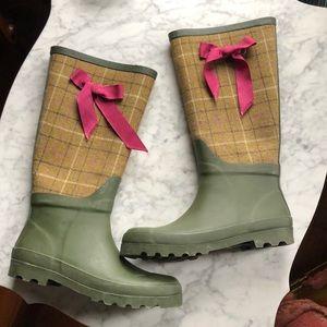 J Crew wellies rain boot plaid green sz 9 wool euc